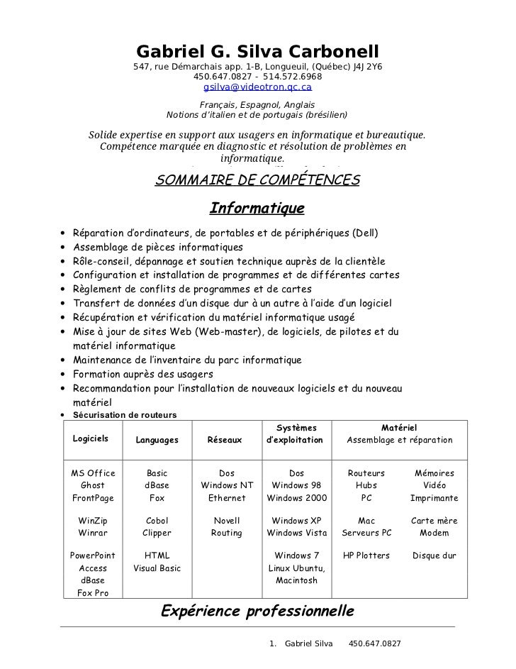 Gabriel G. Silva Carbonell                 547, rue Démarchais app. 1-B, Longueuil, (Québec) J4J 2Y6                      ...