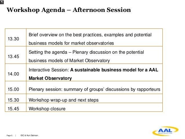 Workshop on the AAL Market Observatory Identifying stakeholders ne – Workshop Agenda Example