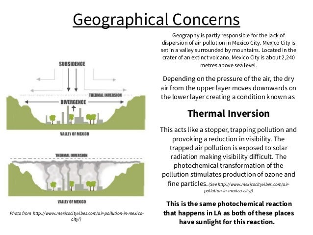 Geographical Concerns Geography is partly responsible for the lack of dispersion of air pollution in Mexico City. Mexico C...