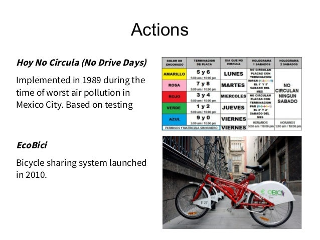 Actions Hoy No Circula (No Drive Days) Implemented in 1989 during the time of worst air pollution in Mexico City. Based on...