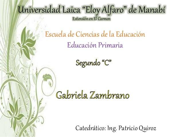 """Universidad Laica """"Eloy Alfaro"""" de Manabí Extensión en El Carmen Escuela de Ciencias de la Educación Educación Primaria Ca..."""