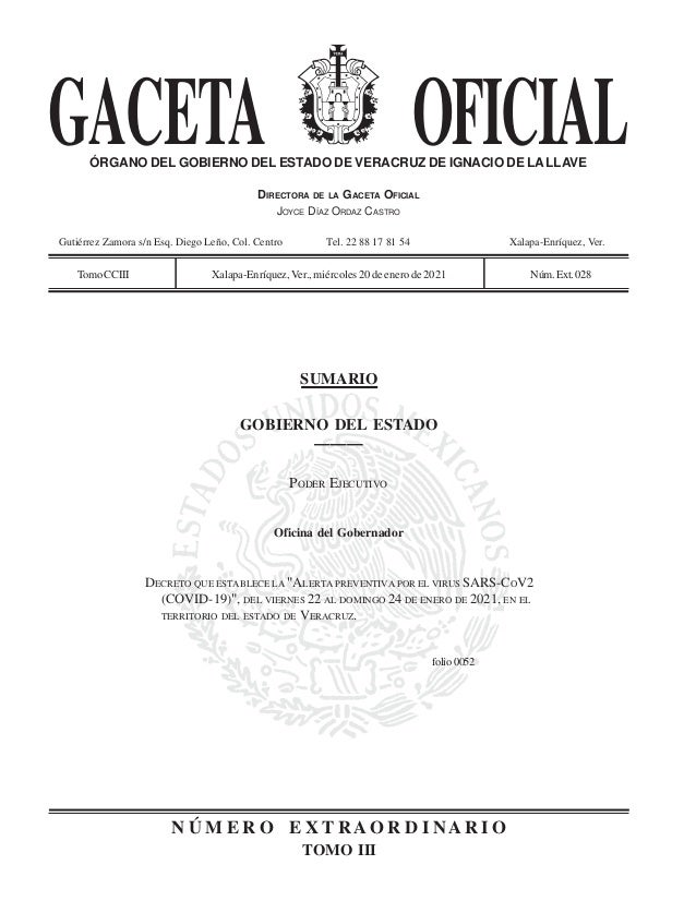 GACETA OFICIAL ÓRGANO DEL GOBIERNO DEL ESTADO DE VERACRUZ DE IGNACIO DE LALLAVE DIRECTORA DE LA GACETA OFICIAL JOYCE DÍAZ ...