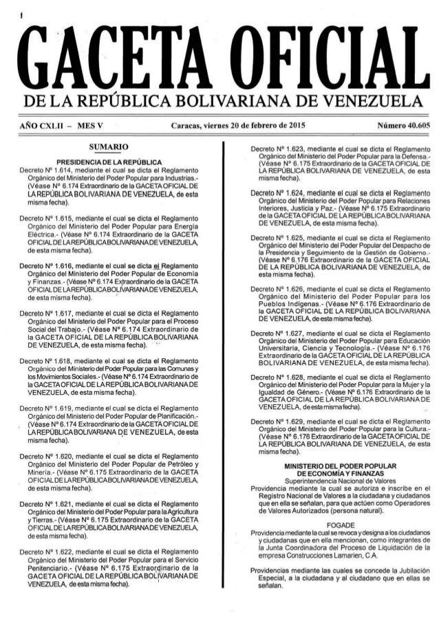 GACETA OFICIAL  DE LA REPÚBLICA BOLIVARIANA DE VENEZUELA  ANO CXLII - MES v  SUMARIO  PRESIDENCIA DE LA REPÚBLICA  Decreto...