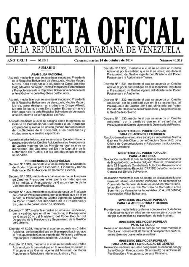GACETA OFICIAL  DE LA REPUBLICA BOLIVARIANA DE VENEZUELA  AÑO CXLII —— MES]  SUMARIO  ASAMBLEA NACIONAL  Acuerdo mediante ...
