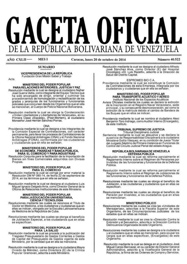 GACETA OFICIAL  DE LA REPUBLICA BOLIVARIANA DE VENEZUELA  ANO CXLII-—- MESI  SUMARIO  VICEPRESIDENCIA DE LA REPÙBLICA Fund...