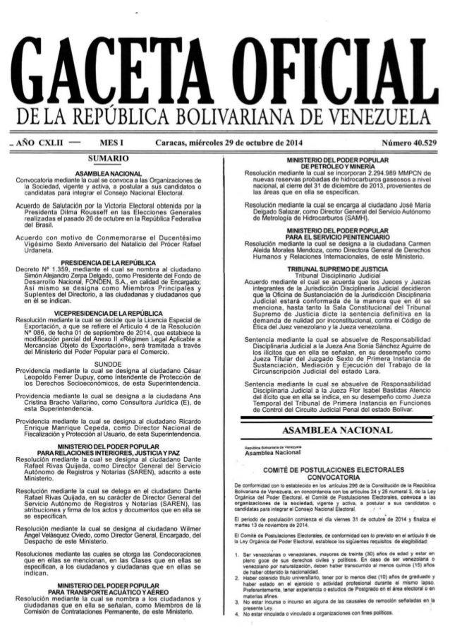 GACETA OFICIAL  DE LA REPUBLICA BOLIVARIANA DE VENEZUELA  _ANO CXLII — MESI SUMARIO  ASAMBLEA NACIONAL Convocatoria median...