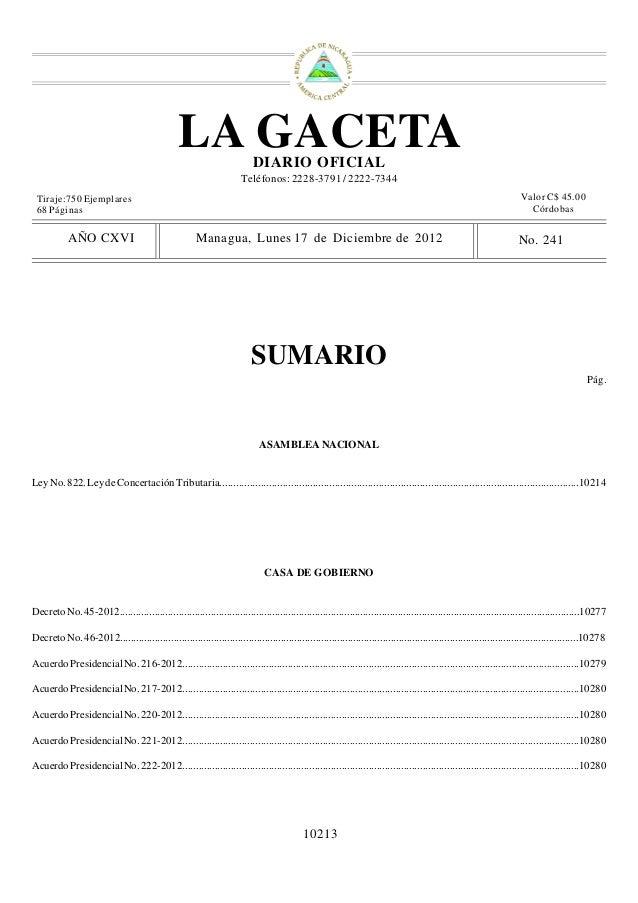 LA GACETA                 DIARIO OFICIAL                                                                       Teléfonos: ...