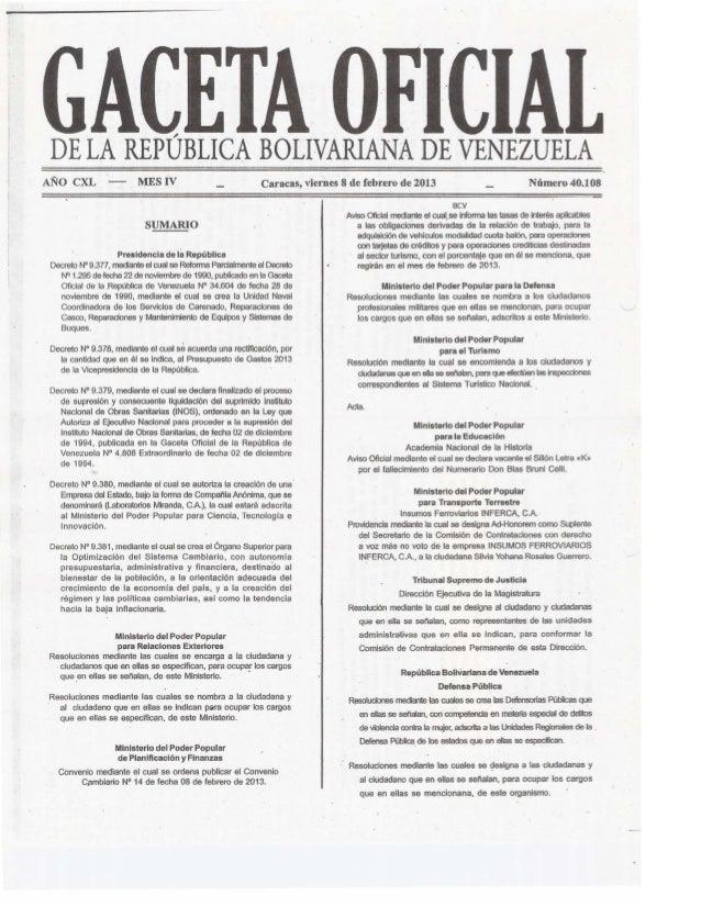 Gaceta No. 40.108