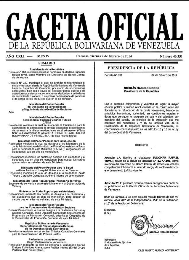 Gaceta No. 40.351