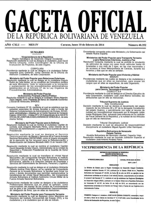 Gaceta No. 40.352
