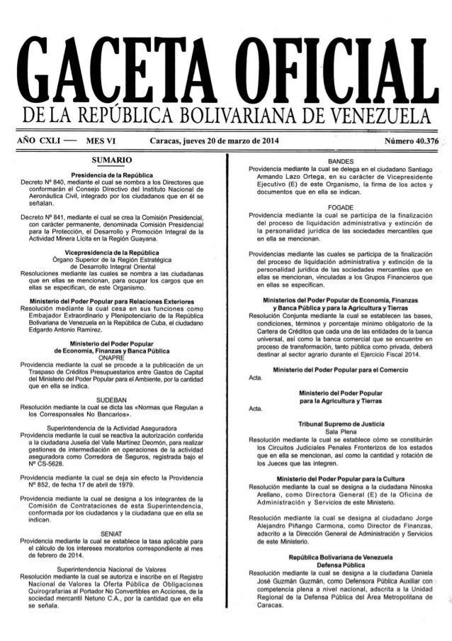 Gaceta No. 40.376