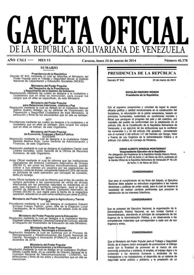 Gaceta No. 40.378