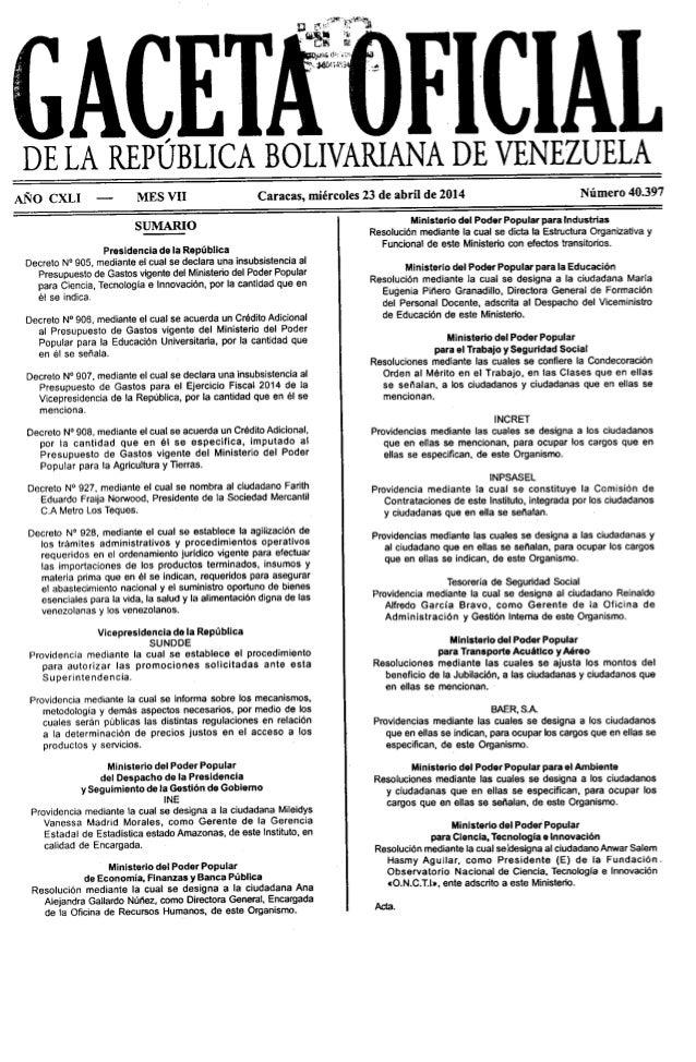 Gaceta No. 40.397