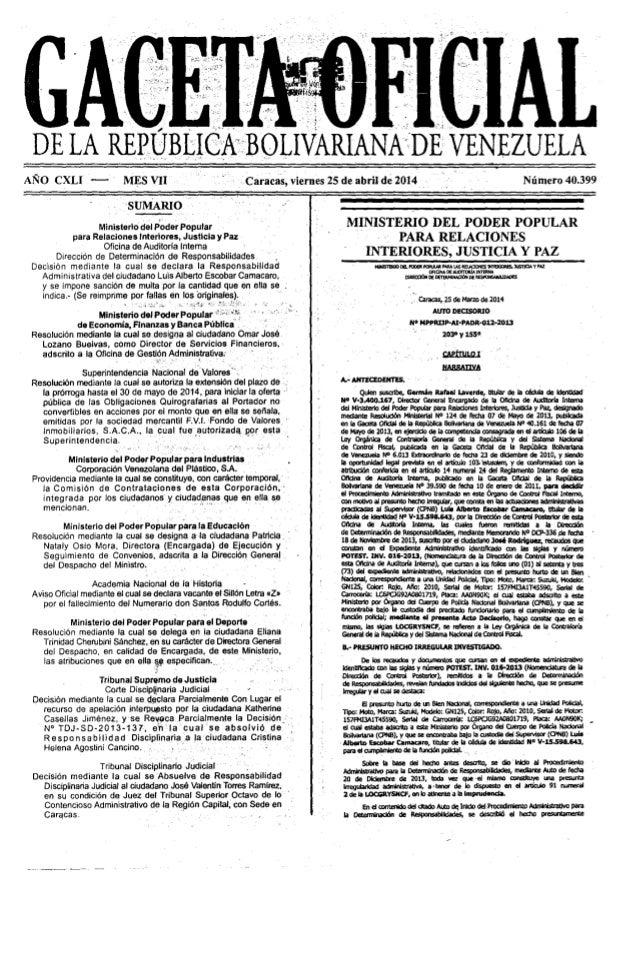 Gaceta No. 40.399