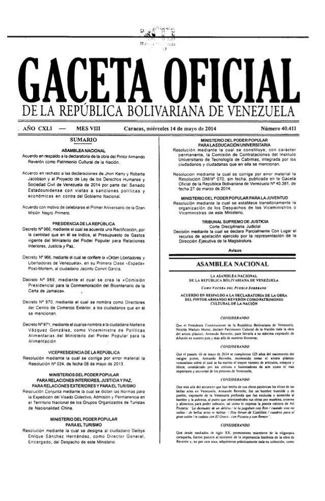 Gaceta No. 40.411