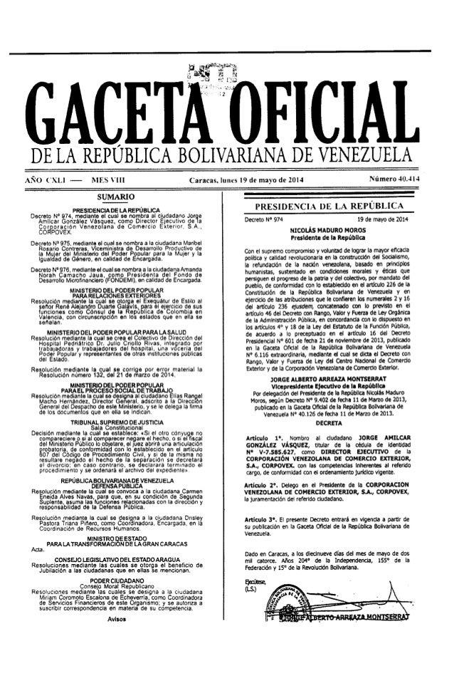 Gaceta No. 40.414
