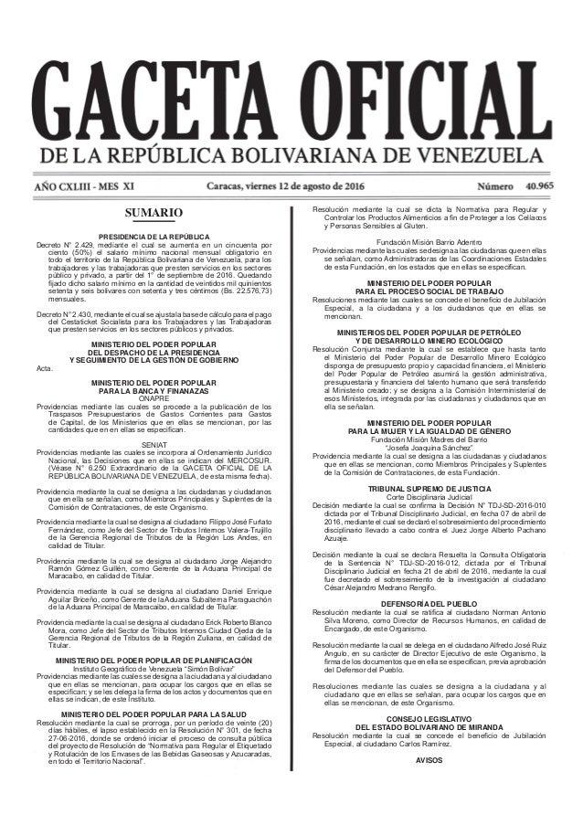 Resolución mediante la cual se dicta la Normativa para Regular y y Personas Sensibles al Gluten. Fundación Misión Barrio A...