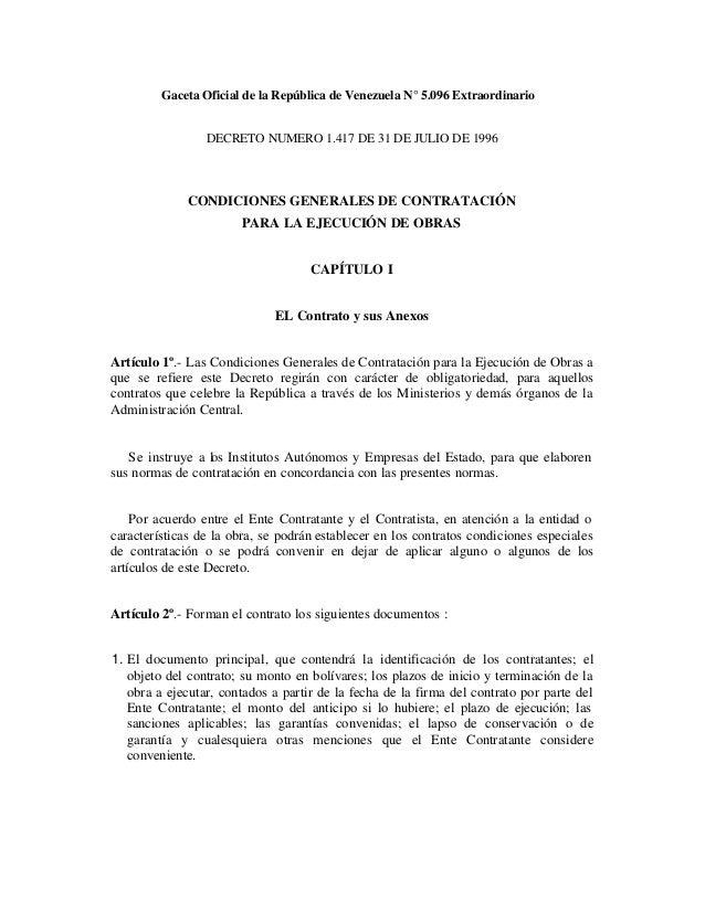 Gaceta Oficial de la República de Venezuela N° 5.096 ExtraordinarioDECRETO NUMERO 1.417 DE 31 DE JULIO DE 1996CONDICIONES ...