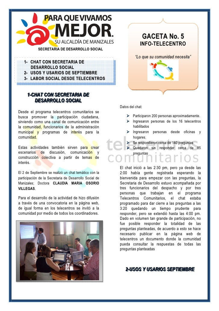 GACETA No. 5                                                                       INFO-TELECENTRO              SECRETARIA...