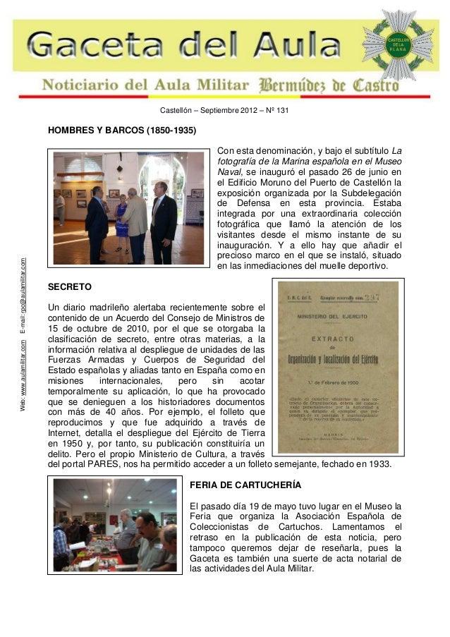 Castellón – Septiembre 2012 – Nº 131  Web: www.aulamilitar.com  E-mail: rpc@aulamilitar.com  HOMBRES Y BARCOS (1850-1935) ...
