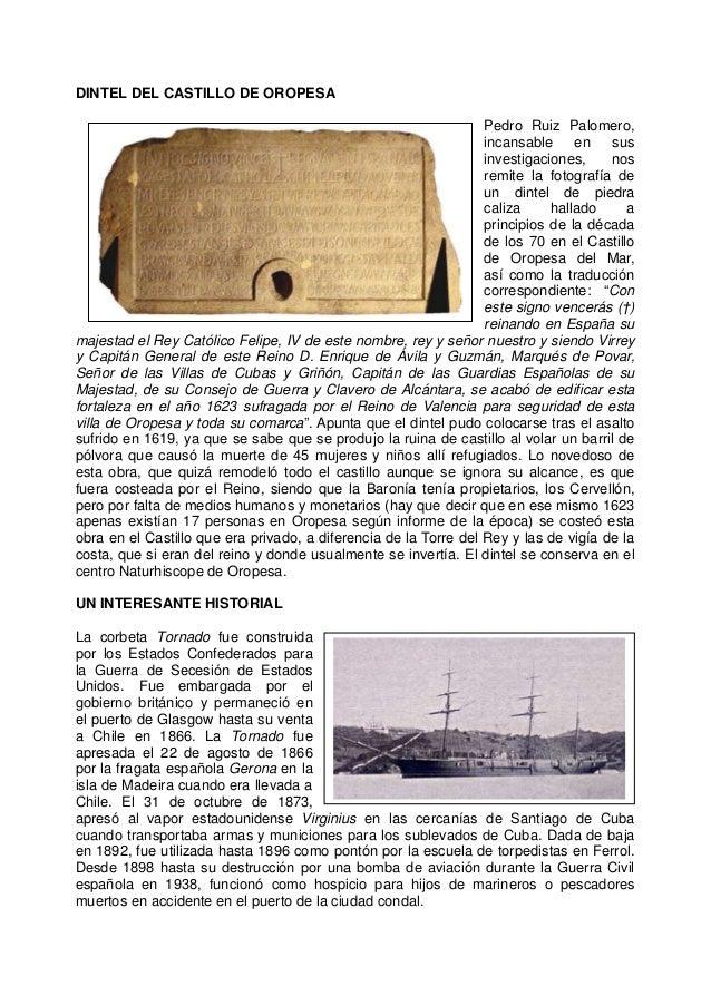 DINTEL DEL CASTILLO DE OROPESA Pedro Ruiz Palomero, incansable en sus investigaciones, nos remite la fotografía de un dint...