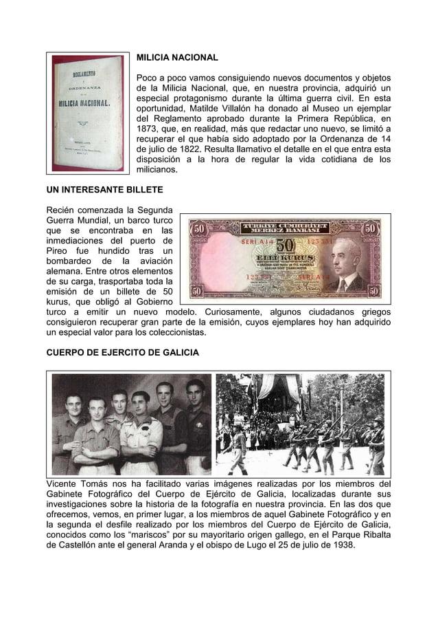MILICIA NACIONAL Poco a poco vamos consiguiendo nuevos documentos y objetos de la Milicia Nacional, que, en nuestra provin...
