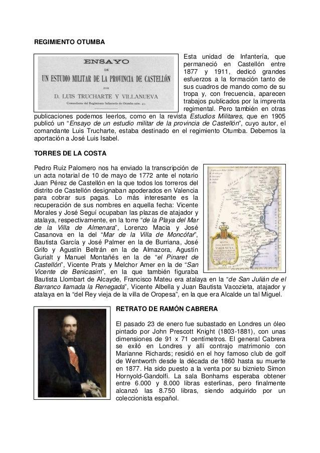 REGIMIENTO OTUMBA Esta unidad de Infantería, que permaneció en Castellón entre 1877 y 1911, dedicó grandes esfuerzos a la ...