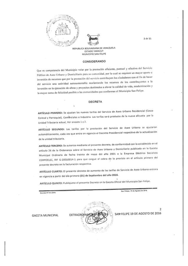 Gaceta municipal extraordinaria 29-2016