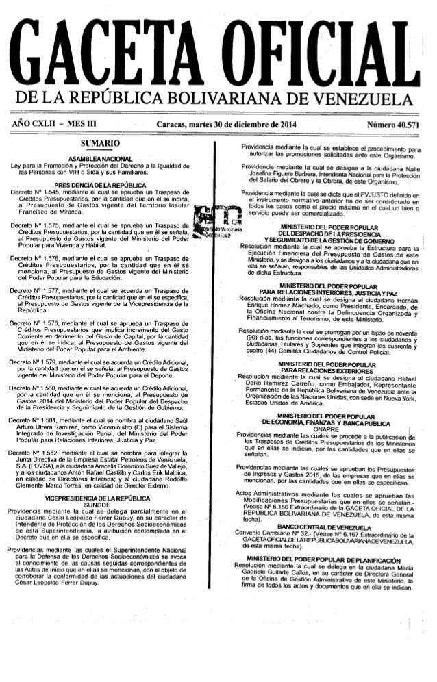 DE LA REPÙBLICA BOLIVARIANADE VENEZUELA     ANO CXLI] — MES III  SUMARIO  ASAMBLEA NAClONAL Ley para la Promociòn y Protec...