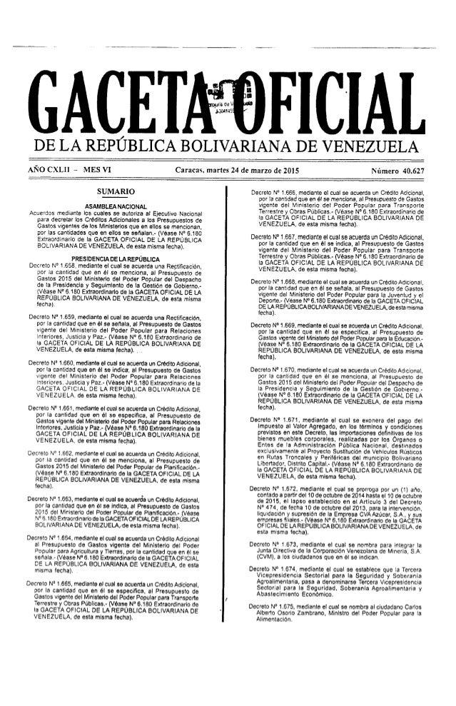 Afro CXLII e MESVI       SUMARIO  ASAM BLEA NAClONAL  Acuerdos mediante Ios cualas se autoriza al Ejecutivo Nacional para ...