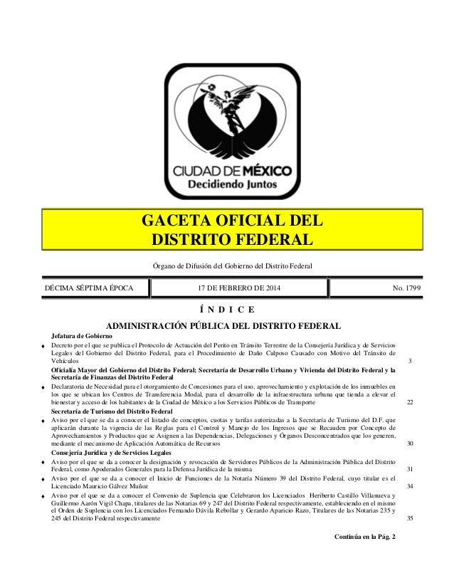 GACETA OFICIAL DEL DISTRITO FEDERAL Órgano de Difusión del Gobierno del Distrito Federal DÉCIMA SÉPTIMA ÉPOCA  17 DE FEBRE...