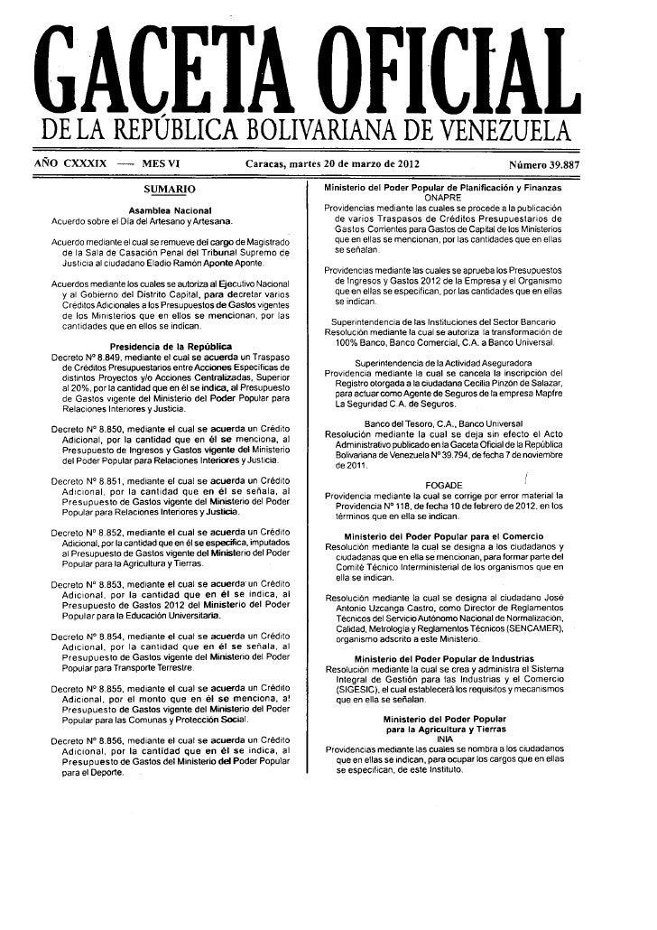 Gaceta oficial 39887 decreto dia del artesano
