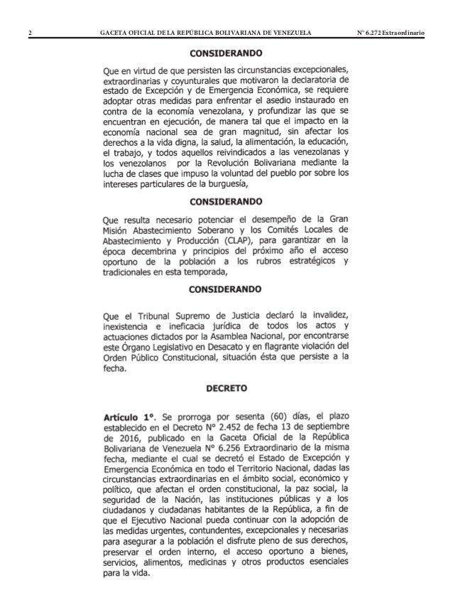 2 GACETA OFICIAL DE LA REPÚBLICA BOLIVARIANA DE VENEZUELA N° 6.272 Extraordinario