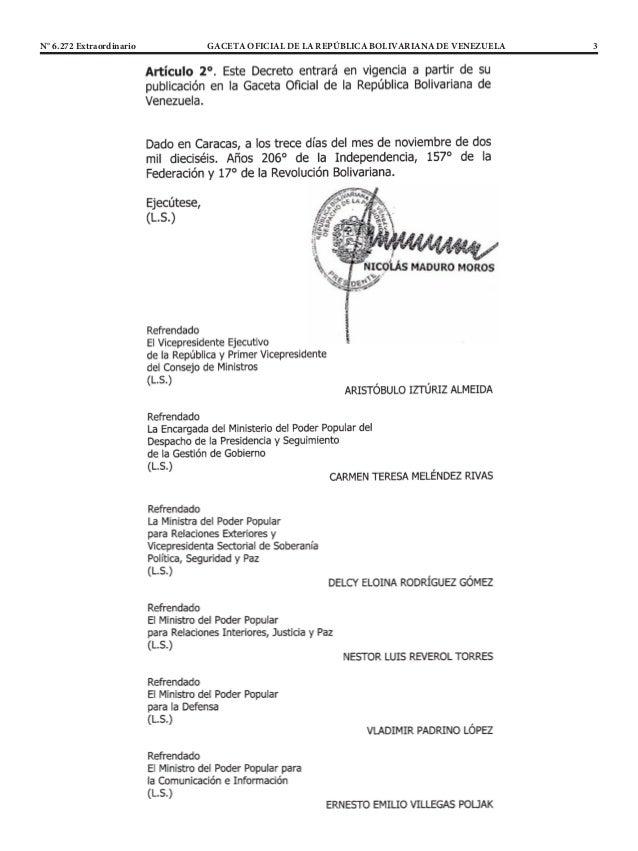 N° 6.272 Extraordinario GACETA OFICIAL DE LA REPÚBLICA BOLIVARIANA DE VENEZUELA 3