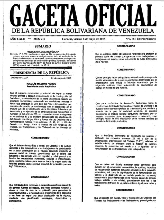 Il GACETA OFICIALDE LA REPÚBLICA BOLIVARIANA DE VENEZUELA AROCXLII - MES VI1 Caracas, viernes 8 de mayo d e 2015 No6.181 E...