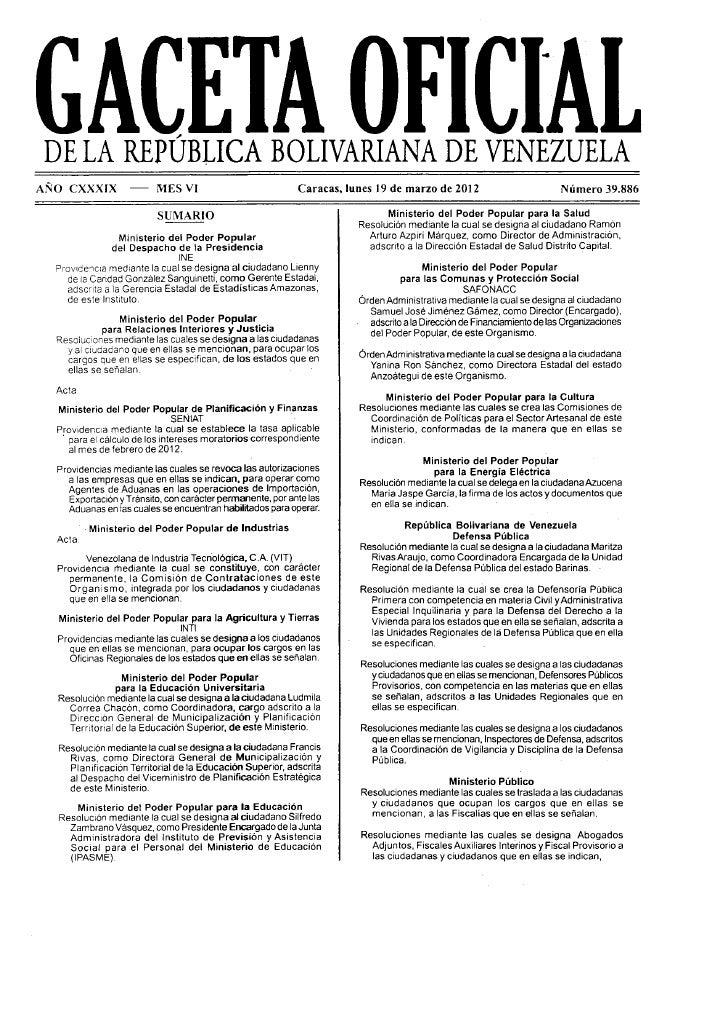 Gaceta Oficial nº 39.886 Creacion de comision de Coordinacion de Politicas para el Sector Artesanal