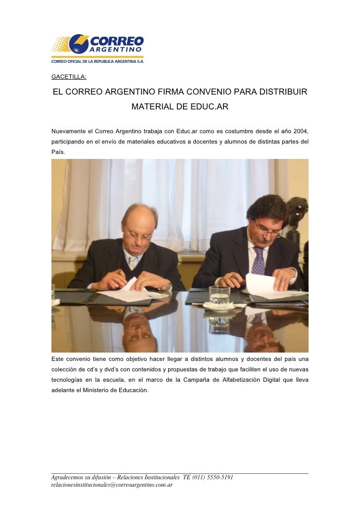 GACETILLA:  EL CORREO ARGENTINO FIRMA CONVENIO PARA DISTRIBUIR                                MATERIAL DE EDUC.AR  Nuevame...