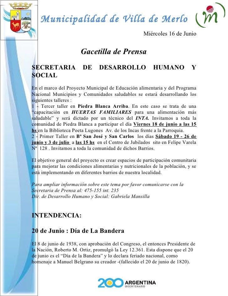 Municipalidad de Villa de Merlo                                                      Miércoles 16 de Junio                ...