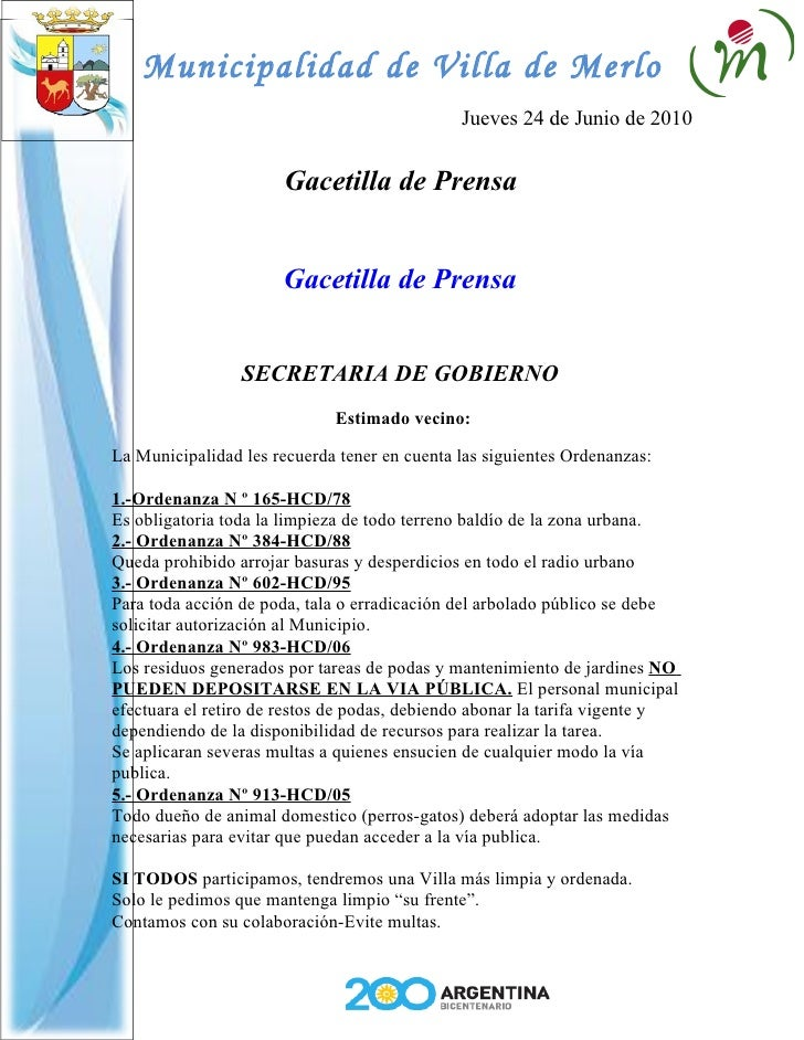 Municipalidad de Villa de Merlo                                               Jueves 24 de Junio de 2010                  ...