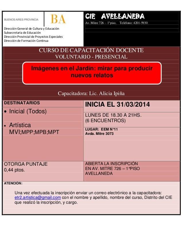 Gacetilla curso cie avellaneda for Municipalidad de avellaneda cursos