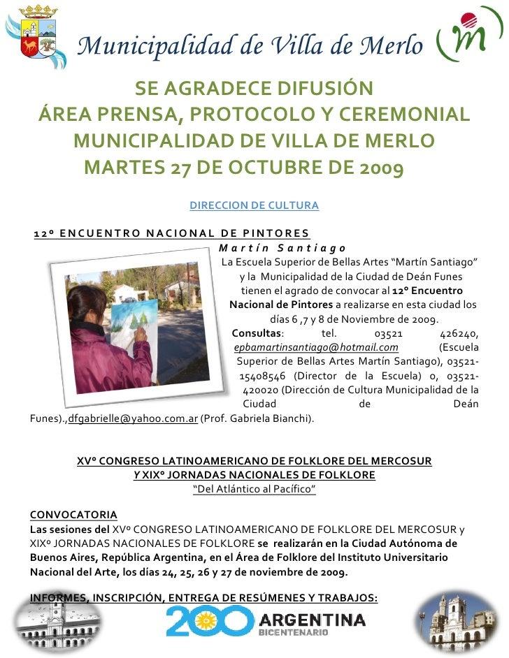 Municipalidad de Villa de Merlo          SE AGRADECE DIFUSIÓN  ÁREA PRENSA, PROTOCOLO Y CEREMONIAL     MUNICIPALIDAD DE VI...