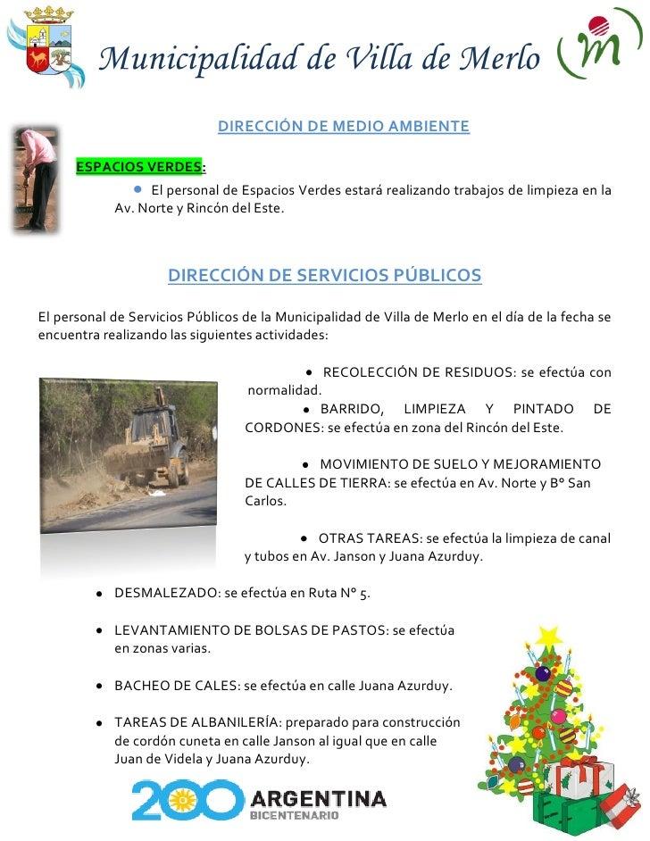 Municipalidad de Villa de Merlo                               DIRECCIÓN DE MEDIO AMBIENTE        ESPACIOS VERDES:         ...
