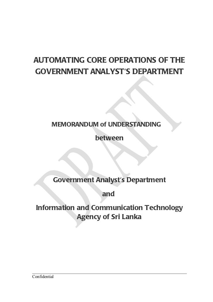 AUTOMATING CORE OPERATIONS OF THEGOVERNMENT ANALYSTS DEPARTMENT          MEMORANDUM of UNDERSTANDING                      ...