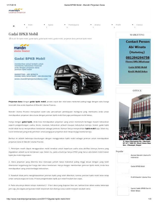1/17/2018 Gadai BPKB Mobil - Mandiri Pinjaman Dana http://www.mandiripinjamandana.com/2017/12/gadai-bpkb-mobil.html 1/3  ...