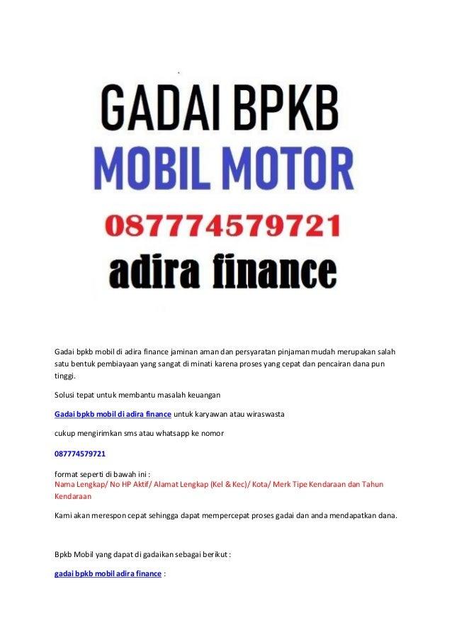 Gadai bpkb mobil adira finance 087774579721