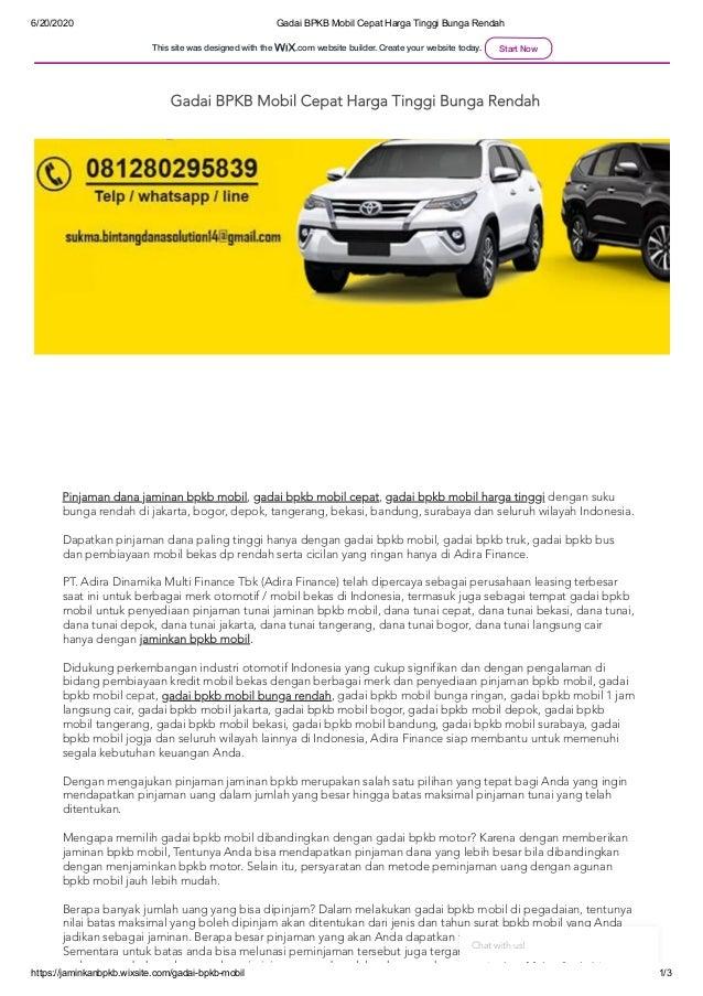 6/20/2020 Gadai BPKB Mobil Cepat Harga Tinggi Bunga Rendah https://jaminkanbpkb.wixsite.com/gadai-bpkb-mobil 1/3 Pinjaman ...