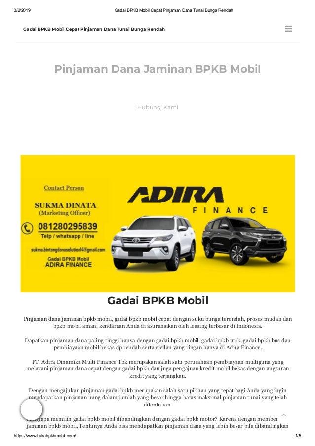 Gadai Bpkb Mobil Cepat Pinjaman Dana Tunai Bunga Rendah