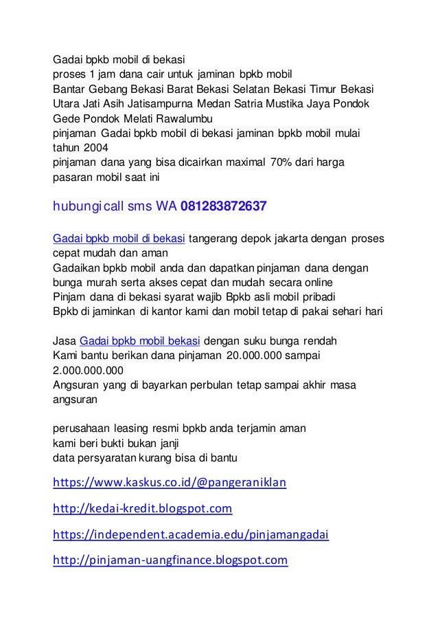 Gadai Bpkb Mobil Di Bekasi