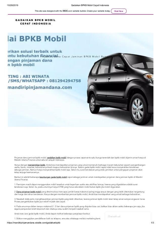 10/28/2019 Gadaikan BPKB Mobil Cepat Indonesia https://mandiripinjamandana.wixsite.com/gadaikanbpkb 1/3 P i n j a m a n D ...