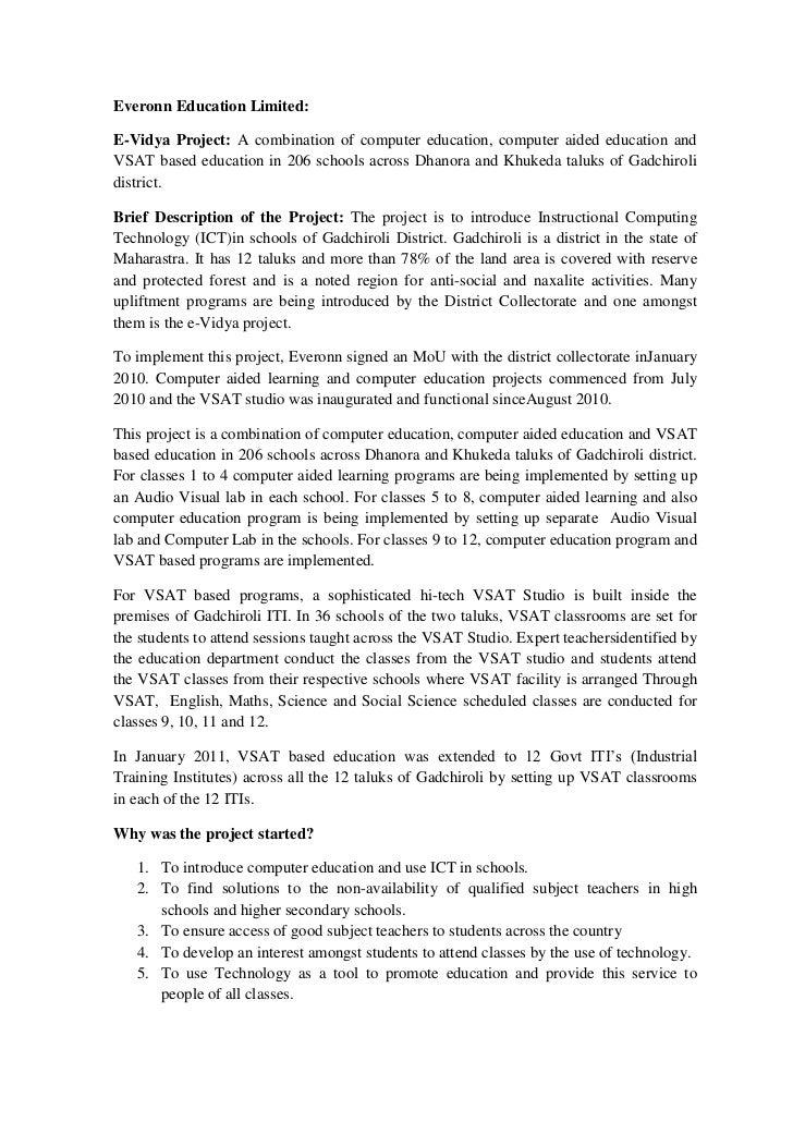 Everonn Education Limited:<br />E-Vidya Project: A combination of computer education, computer aided education and VSAT ba...